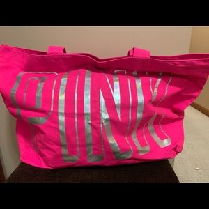 NEW VICTORIA SECRET Tote Bag Hot Pink silver logo
